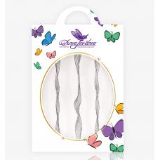 Лента для дизайна ногтей Волна белая/серебро
