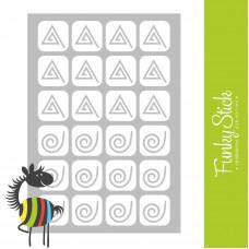 Трафареты для дизайна ногтей воронки треугольники 83*127 мм Funky Stick
