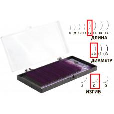 Dona Jerdona Цветные одинарные ресницы в кассете Черные+Фиолетовые C/0,15/12 (16рядов)